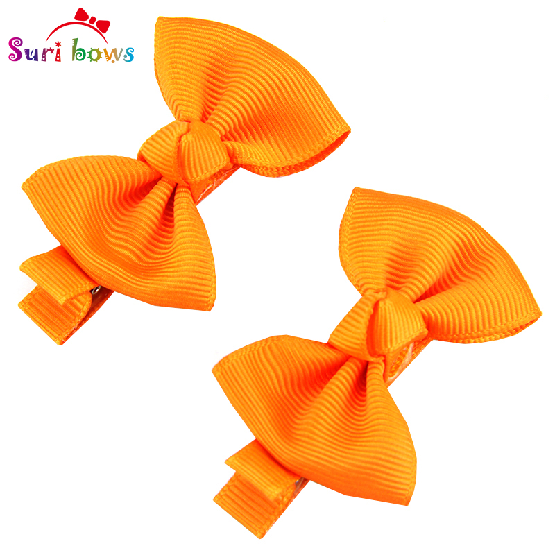 1Pair Baby Girls Toddler Children Bowknots Solid Dots Boutique Hair Clips Headwear Polyester Ribbon Barrettes Headpins FS006