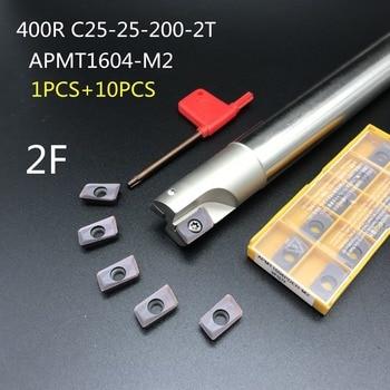 10PCS APMT1604 M2 + 1PCS 25mm milling cutter BAP400R C25-25-200-2T machining center shank carbide insert lathe cutter free shipping bap400r c25 26 160 indexable face milling cutter tools for apmt1604 carbide inserts suitable for nc cnc machine