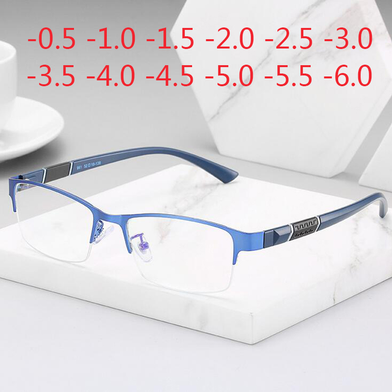 Prescription Eyeglasses Rectangle Half Frame Design Optical Glasses Myopia Resin Lenses Spectacles -0.5 -1 -1.5 -2 -2.5 -3 -5 -6