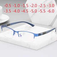 Prescription Eyeglasses Rectangle Half Frame Design Optical Glasses Myopia Resin Lenses Spectacles -0.5 -1 -1.5 -2 -2.5 -3 -5 -6