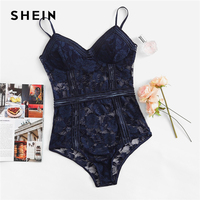 5105e777c51 SHEIN Multicolor Floral Lace Teddy Cami Lingerie Romper Women Sexy  Sleeveless Modern Lady Summer Women Rompers