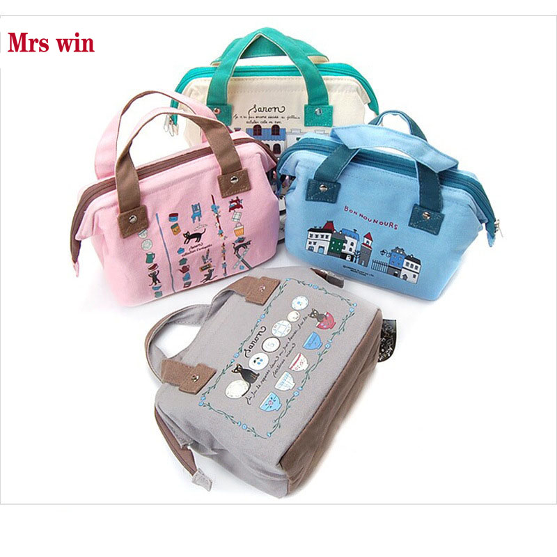 Mrs win Portable Insulated Canvas lunch Bag Thermal Food Picnic Lunch Bags for Women kid ...