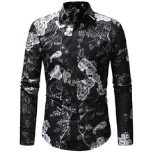 2018 Autumn New Men's Floral Printed Shirt Male Long Sleeve 3D Print Long Sleeve Shirt Men Slim Fit Flower Shirt Tops M-3XL stylish shirt collar slimming flower print long sleeve polyester shirt for men