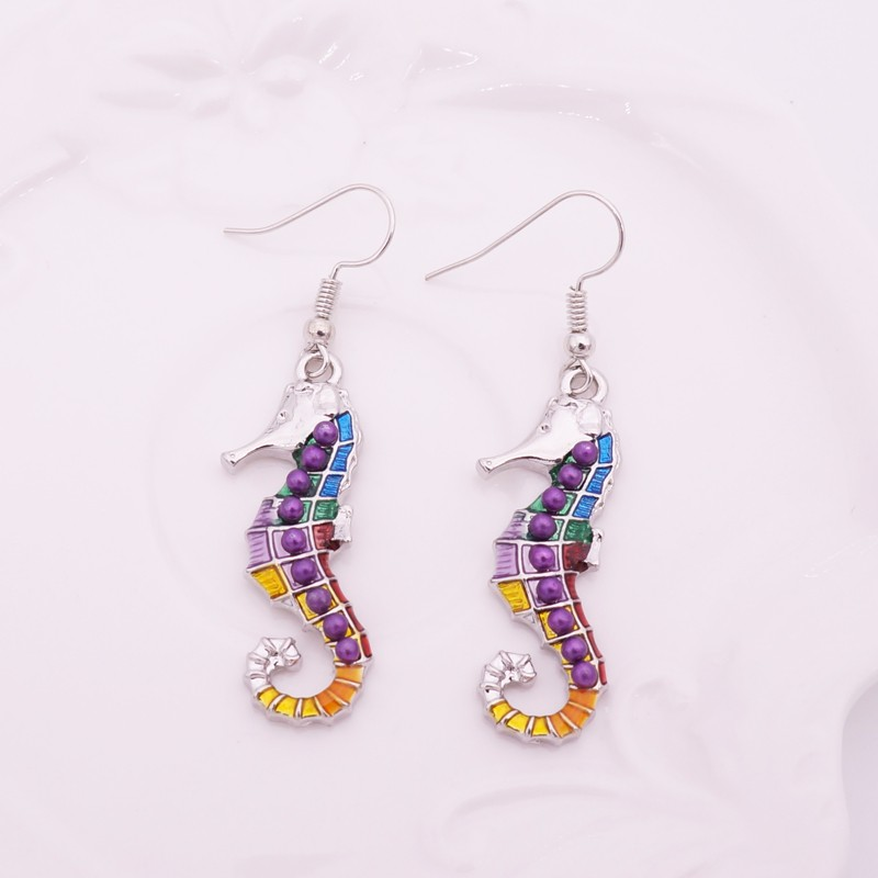 HTB1FI5FLpXXXXcyXpXXq6xXFXXXJ - Multicolor Seahorse Style Necklace with Earrings