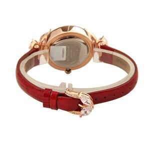 Image 4 - Bowknot Crystal Clock Lady Womens Watch Hours Japan Quartz Fashion Bracelet Leather Shell Luxury Rhinestones Girls Gift Box