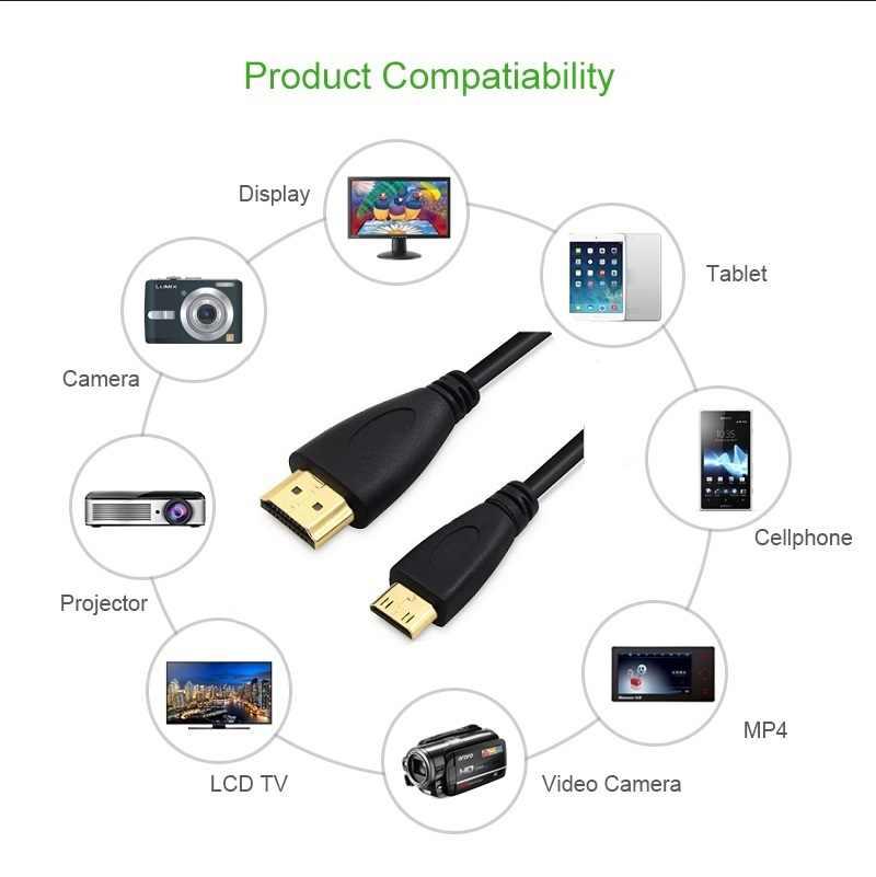 30 см 1 м, 1,5 м, 2 м, 3 м, 5 м High speed HDMI позолоченный к MINI HDMI вилка male-male HDMI кабель 1,4 версии 1080 P 3D для планшетов DVD