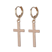 Europe and the United States simple fashion men and women smooth face earrings cross-shaped retro silver gold cross earrings europe and the united states simple fashion men and women smooth face earrings cross shaped retro silver gold cross earrings