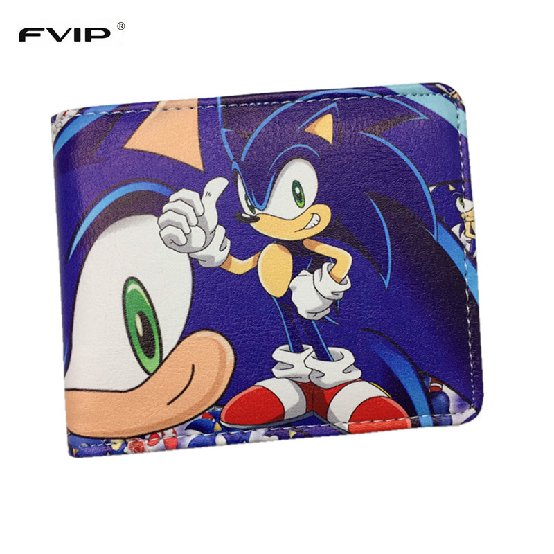 FVIP Sonic the Hedgehog Anime Wallet PU Cartoon Super Sonic Wallets for Student Teenager dc wonder woman wallet suicide squad purse super hero fashion cartoon wallets personalized anime purses for teens girl student