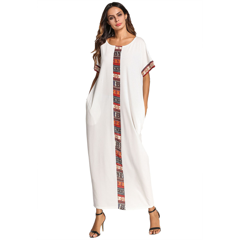 Women's Nightgown Long Plus Size Short Sleeve Patchwork Nightdress Casual Home dress Sleepwear Dress Arabic Women Gown M-4XL