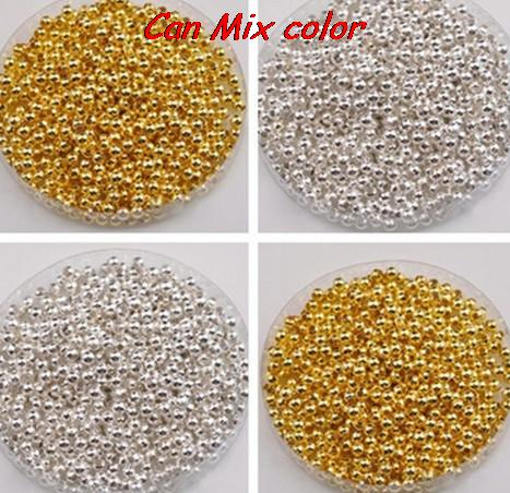 can choose color!4mm 4000pcs/lot silver Gold Spacer Beads, new acrylic beads For Chunky Jewellery for DIY bracelet cross making