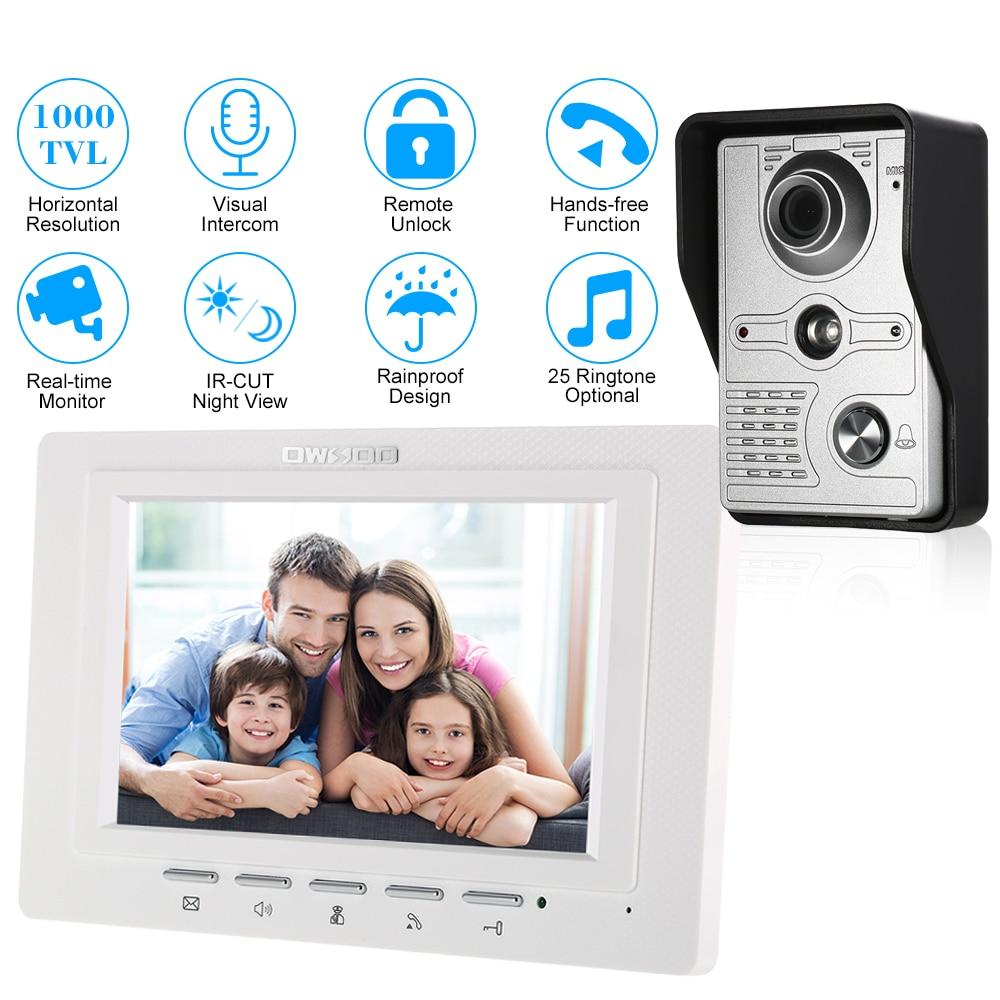 OWSOO 7 Inch Wired Video Doorbell Indoor Monitor IR-CUT Rainproof Outdoor Camera Visual Intercom Remote Unlock Video Door Phone