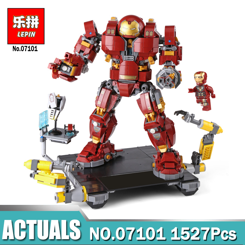 Lepin 07101 1527Pcs Super Genuine Hero Compatible with 76105 Iron Man Anti Hulk Mech Hulkbuster Ultron Building Bricks Blocks lepin 07101 1527pcs super genuine hero iron man anti hulk mech toy building bricks blocks model compatible with legoingly 76105