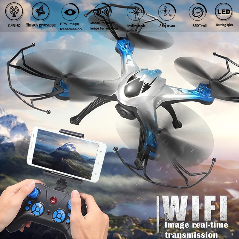 Jjrc h29w wifi helicóptero fpv 4 canales 6 axis gyro rc quadcopter drone aviones
