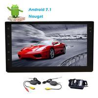Android 7.1 Estéreo Del Coche 2Din Bluetooth Dual Cam-in Car FM/AM Receptor de Radio Pantalla Táctil Tablet Wifi de Vídeo música Inalámbrica Cámara Trasera