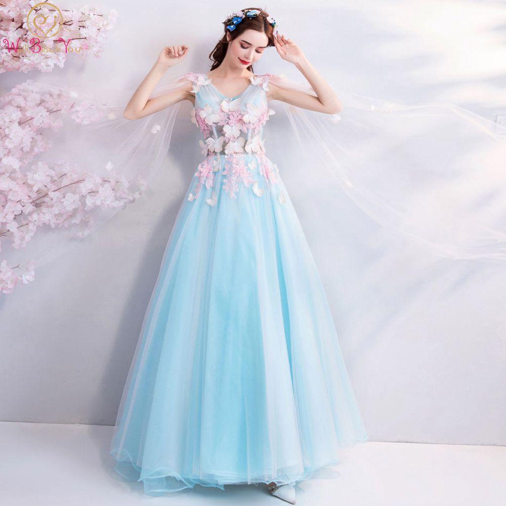 Sky Blue Prom Dresses 2019 Pink Flower Butterfly V Neck Tulle Flowing Shoulder Long Floor Length