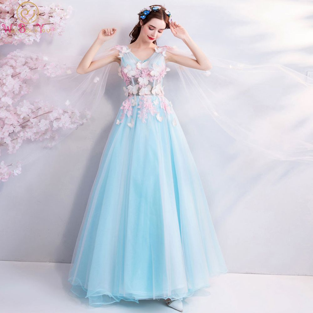Sky Blue   Prom     Dresses   2019 Pink Flower Butterfly V Neck Tulle Flowing Shoulder Long Floor Length Evening Gown Walk Beside You