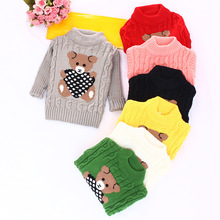 Cartoon O-Neck Sweaters for Kids Knitted Pullovers Outwear Cute Panda Pattern Girls Boys Sweaters Warm Knitwear Kids Clothing