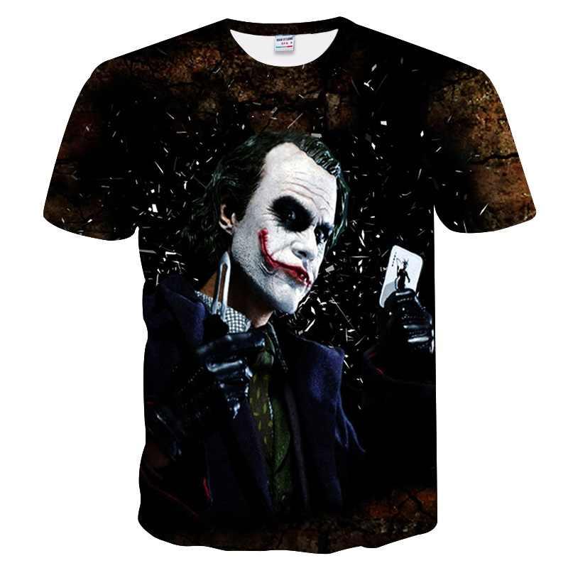 Новинка 2018, Харадзюку, Джокер, покер, 3D принт, крутая футболка для мужчин/женщин, короткий рукав, летние топы, футболки, модная футболка