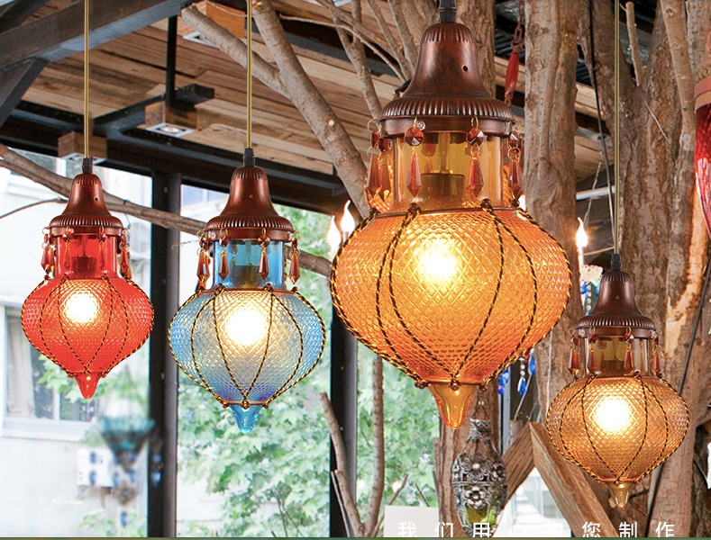 Us 55 1 5 Off Free Shipping Bohemian Mediterranean E27 D180mm Gl Pendant Light Tiffany Vintage Painted In Lights From