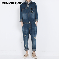 Denyblood Jeans Mens Denim Overalls Full Sleeves Slim Straight Distressed Jeans Ripped Fashion Jumpsuits for Man Work Cloth 8157