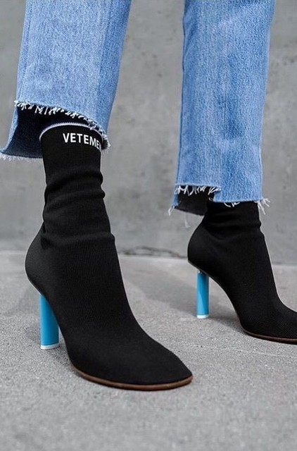 3f71124c9f1 New 2017 Women Vetement Boots Lighter-Heel Stretch fabric Women Boots Sock  Jersey Ankle Boots black wine High Heels Ladies Shoes