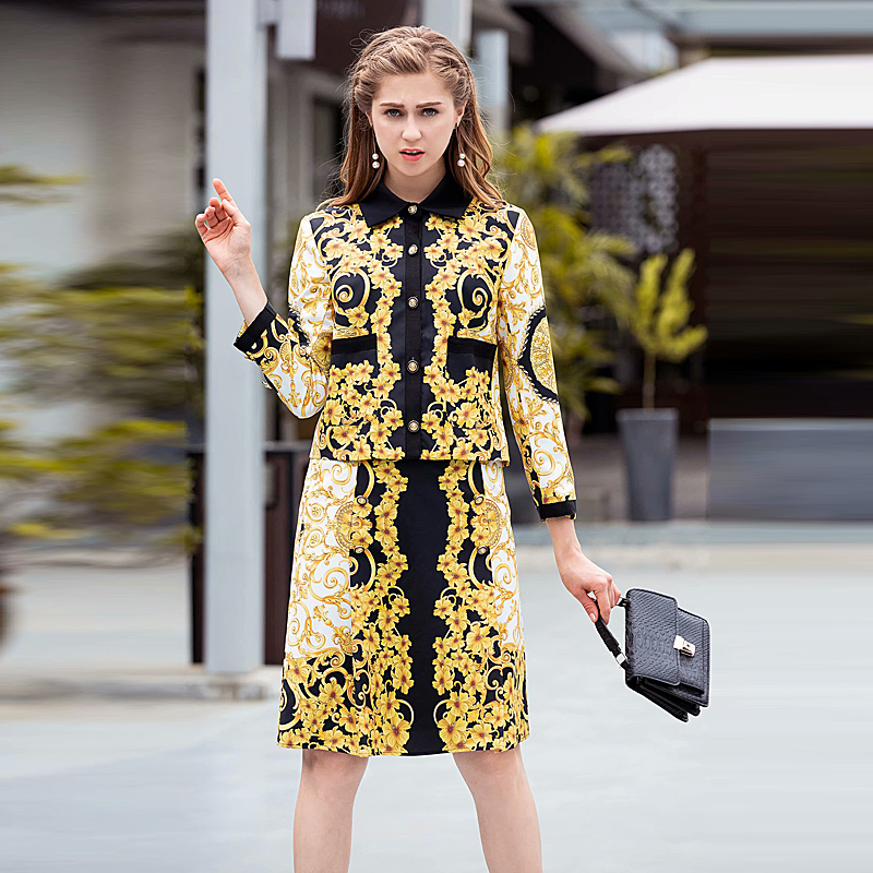 Runway New Fashion High Quality Autumn Party Work Baroque Print Long Sleeve Jacket Half Skirt Vintage
