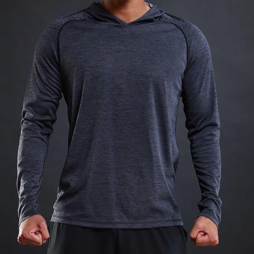 FLORATA Новая модная Осенняя мужская футболка Повседневная тонкая мужская Базовая футболка с длинными рукавами, футболки стрейч-футболка, удобная футболка с капюшоном