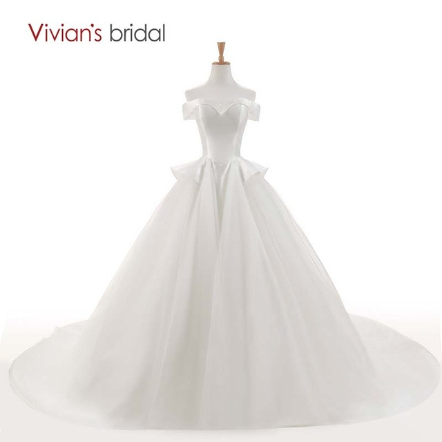 Vivian\'s Bridal Off Shoulder Sleeveless Simple Ball Gown Wedding ...
