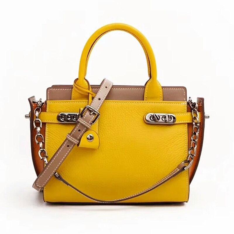 2018 Famous Brand Designer Women Handbag Genuine Leather Luxury Panelled Pattern Female Shoulder Meaaenger Bag Trapeze