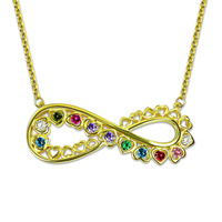 Wholesale Personalized Unique Infinity Heart Necklace Gold Color Family Birthstone Necklace For Mother