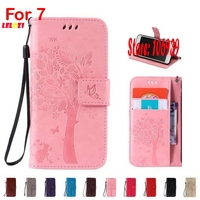 Vintage New Deluxe Art Best Tree Flower Cat Butterfly PU Leather Wallet Case Cubierta For IPhone