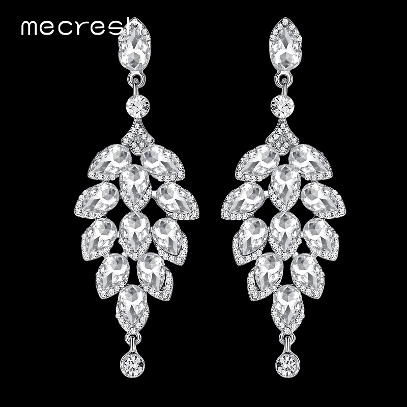 Mecresh Crystal Bridal Long Drop Earrings For Women Silver Color Christmas Tree-Shape Prom Hanging Brincos Fashion Jewelry EH646 silver long chain hanging earrings moon star shape