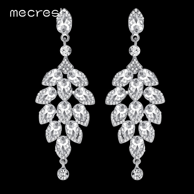Mecresh Crystal Bridal Long Drop Earrings For Women Silver Color Christmas Tree Shape Prom Hanging