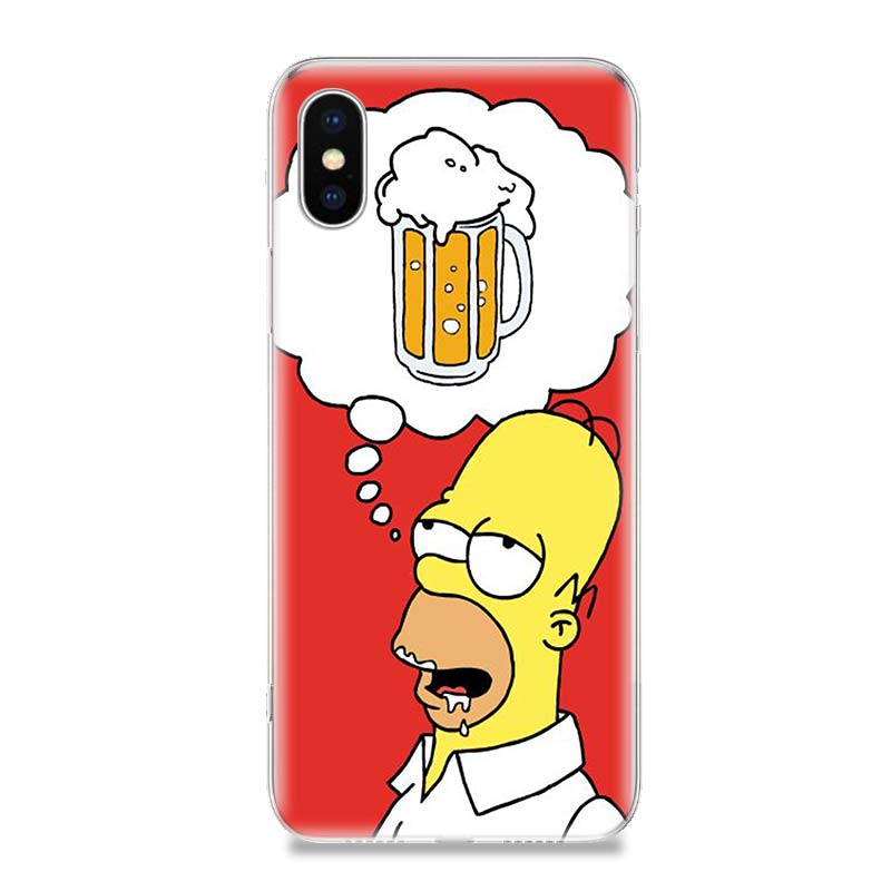 Funny Homer J Simpson TPU Phone Back Case For iPhone 6 6S 7 8 Plus X 10 XS MAX XR 5 5S SE Gift Customized Art Cover Coque Cases in Half wrapped Cases from Cellphones Telecommunications