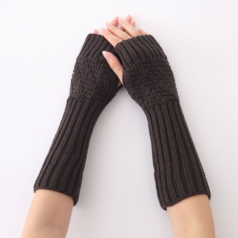 1pair New Hand Knitted Half Fingers Long Gloves For Women Warm Autumn/Winter Hand Arm Gloves TY66