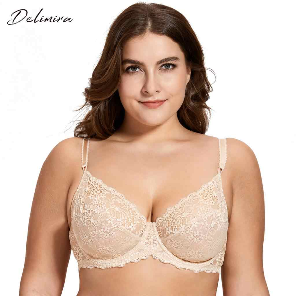 c60a723e0a046 Delimira Women s Full Coverage Underwired Non Padding Breathable Balconette  Sheer Floral Lace Bra Plus Size