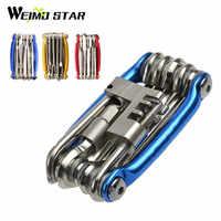 Weimostar 11 w 1 rower górski narzędzia wielofunkcyjne narzędzie do naprawy rowerów jazda na rowerze składany Hex Spoke klucz śrubokręt przecinak łańcucha