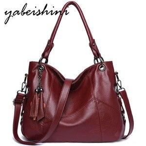 Image 1 - Luksusowe torebki Tassel torebki damskie Designer Sac A Main Casual duże torba z rączkami torebka damska skórzana torebka Vintage na ramię dla kobiet