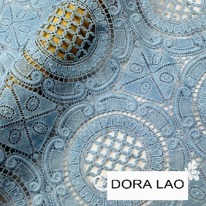 clearance sale 120cm wide light blue traditional style embroidery water soluble cutout lace fabric clothing decoration