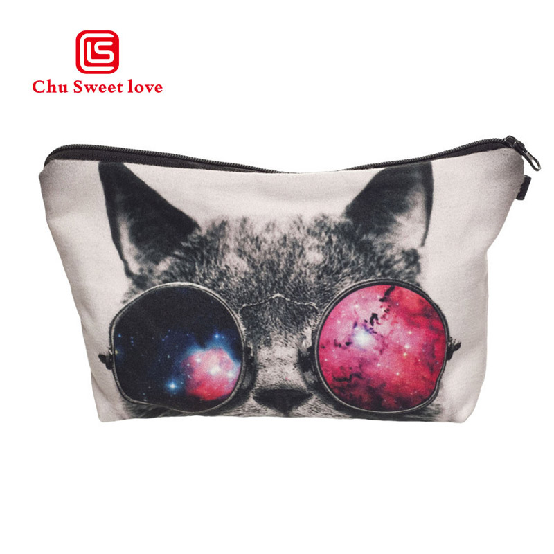 3D Cat Printing Cosmetic Bags Cute Organizer Women Makeup Necessaries For Travel Ladies Storage Toiletry Bag