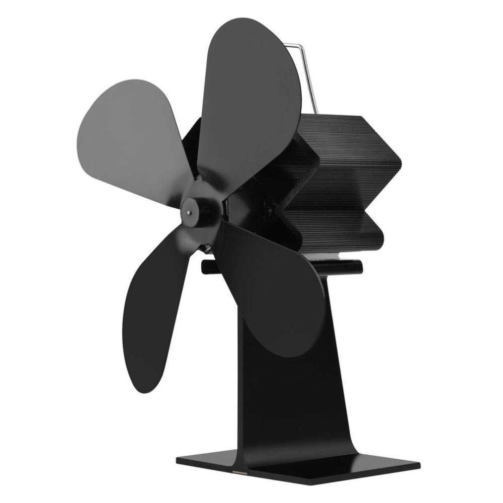 4 Blades Heat Powered Stove Fan Log Wood Burner Ecofan Quiet Black Home Fireplace Fan Efficient Heat Distribution