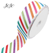 JOJO BOWS 75mm 2y Sparkly Glitter Ribbon Colored Stripe Webbing For Needlework DIY Hair Bows Home Textile Apparel Sewing Decor