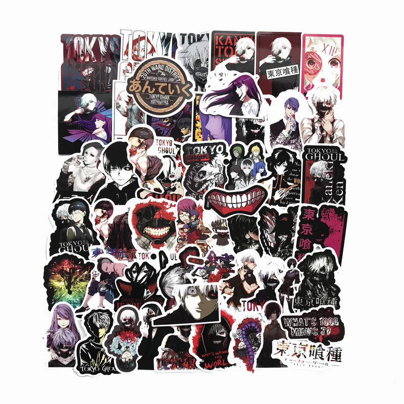 50Pcs/Lot Japan Anime Tokyo Ghoul For Luggage Laptop Skateboard Car Bicycle Backpack Decal Pegatinas Toy Stickers
