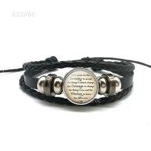 Serenity namaz din takı tanrı İlham alıntı siyah düğme deri bilezik Charm cam Cabochon Dome moda hediye