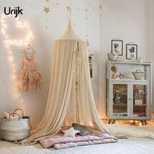 Urijk 1PC Kids Baby Bedding Dome Hanging Bed Canopy Mosquito Net Circular Cotton Curtain Baby Mosquito Nets Canopy Bed Valance