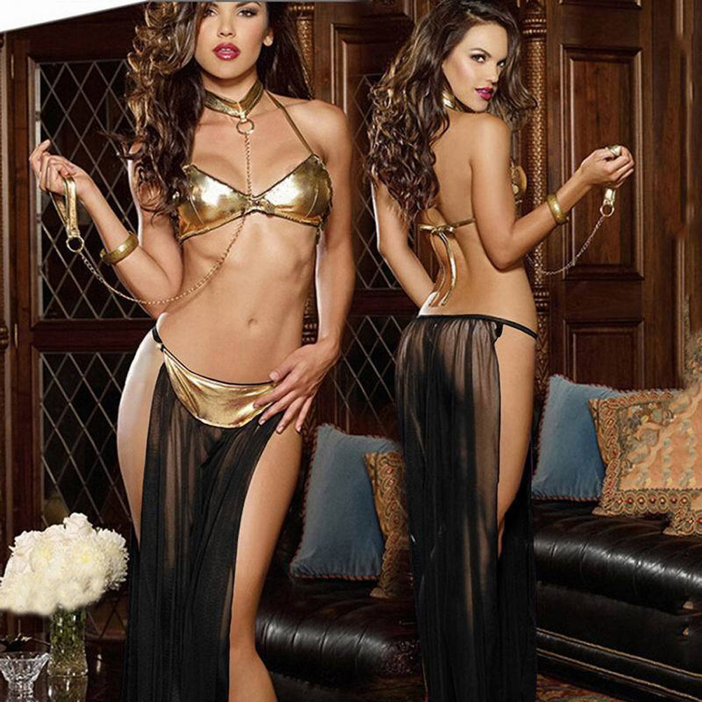 Hot Sexy Lingerie Gold Patent Leather Bra Long Veil Pole Dancing Cloth Set Lenceria Erotic Lingerie Sexy Belly Dance Costumes