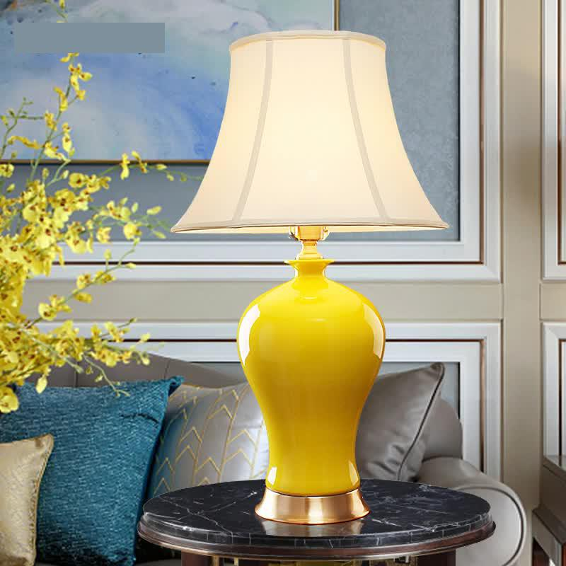 Yellow Ceramic Lamp New Chinese Style Bedroom Living Room