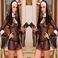 Sexy mujeres del traje de Cosplay monjas uniforme transparente erótica lencería porno caliente ropa exótica monja disfraz de Halloween vestido de ropa 5