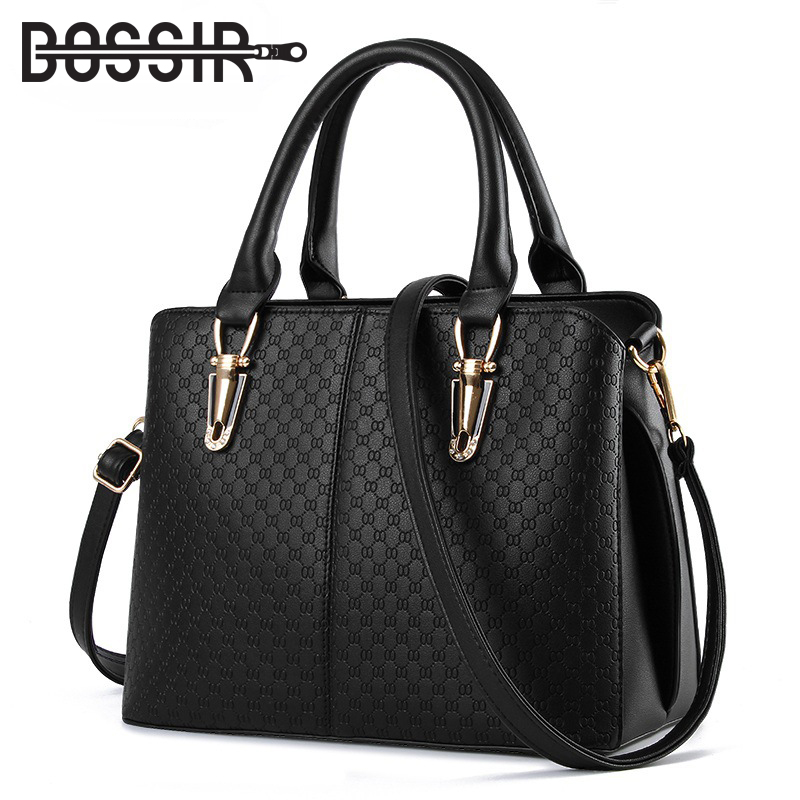 New Arrival Fashion Women Handbags Shoulder Bags PU Leather Solid Black Top-handle Bags Female Messenger Bag Dollar Price women shoulder bags for female fashion pu leather handbags chain solid shoulder bag mini bags woman messenger bag purses d38m12
