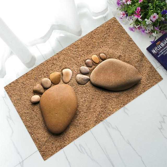 Printed Sole Cobblestone Ultra Thin Rubber Mat Floor For Kitchen Bathroom Rugs Door Mats Outdoor